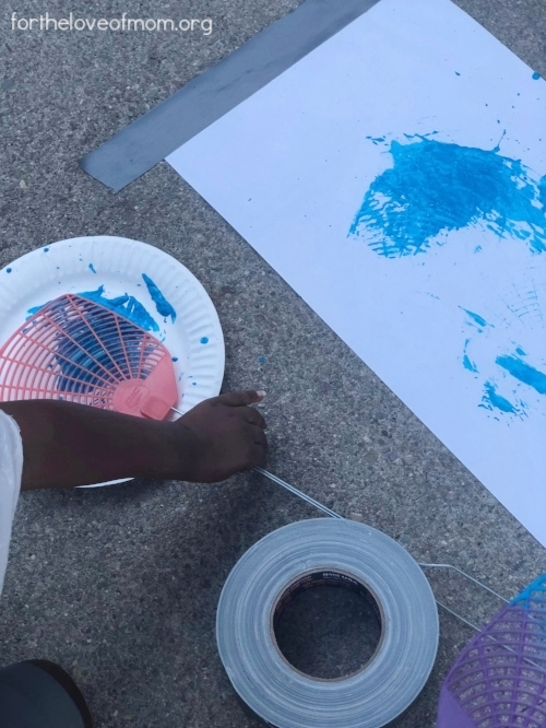 Fly Swatter Painting Activity for Toddlers - fortheloveofmom.org