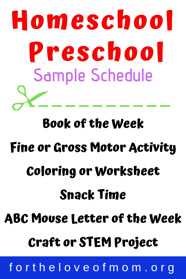 Sample Homeschool Preschool Schedule - For the Love of Mom Blog - fortheloveofmom.org