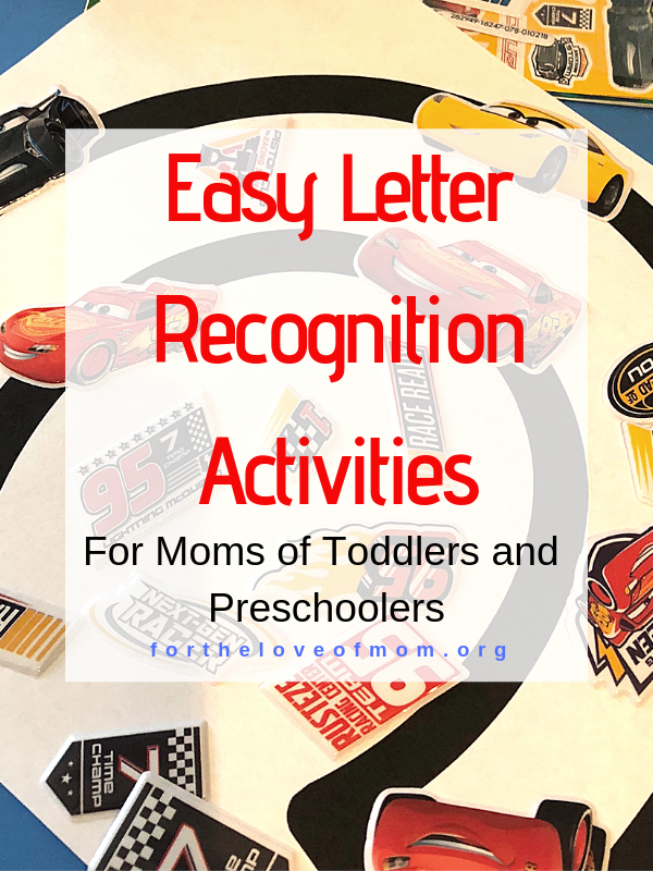 Letter Recognition can make learning to read easier for children. Here are some easy activities you can do with your toddler or preschooler to help prepare for literacy. #momlife #toddler #preschooler  - For the Love of Mom Blog - fortheloveofmom.org