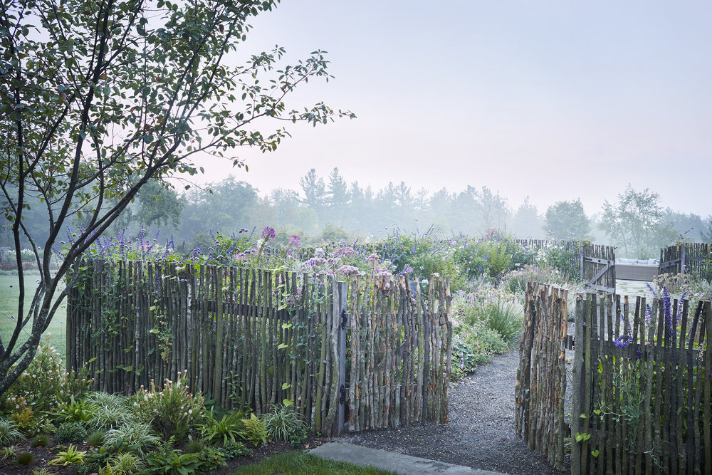 Garden with fence at sunrise