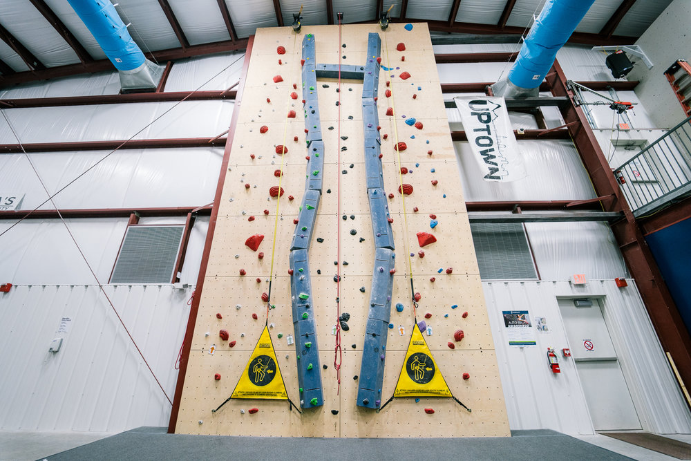 Speed Wall & Crack Climb - Test your speed against friends in an Upward race. Another great option for parties._____________________Cut your teeth (and skin your knuckles) on our crack. Nested in the middle of our speed wall, it's a simple start to learning crack climbing.