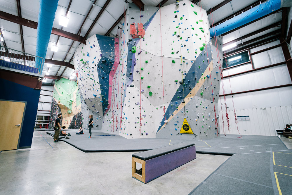 Grand Island - This is where the bulk of our climbing happens with the largest variety of terrain and skill levels in the gym. With over 40 climbing stations and 100+ routes there is something for everyone on our Grand Island.