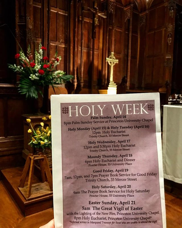🚨IMPORTANT🚨 HOLY WEEK SCHEDULE:  Monday & Tuesday: Eucharist @ Trinity Church, 12:00 PM Wednesday: Eucharist 12 & 5:30 @ Trinity Church Maundy Thursday: Eucharist and Dinner, 6:00 @ Procter House Good Friday: 7a, 12p, 7p prayer book service @ Trinity Church  Holy Saturday: 9:00 am @ Procter House, Prayer Book Service Easter Sunday: 5a @ University Chapel with the great fire lighting & 8p said service in chapel @ university chapel!  Come get your Holy Week On! &&& don't forget to tag us and use our hashtag #ecpforjc