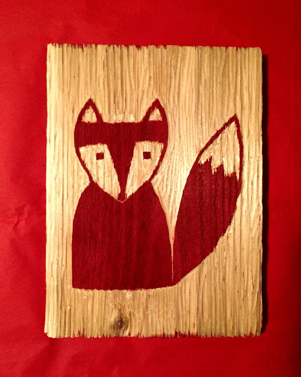 Little Red Fox Woodcut Design | Blue Pine Sea