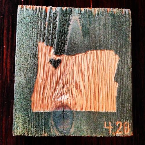 Portland Oregon Heart Woodcut | Blue Pine Sea