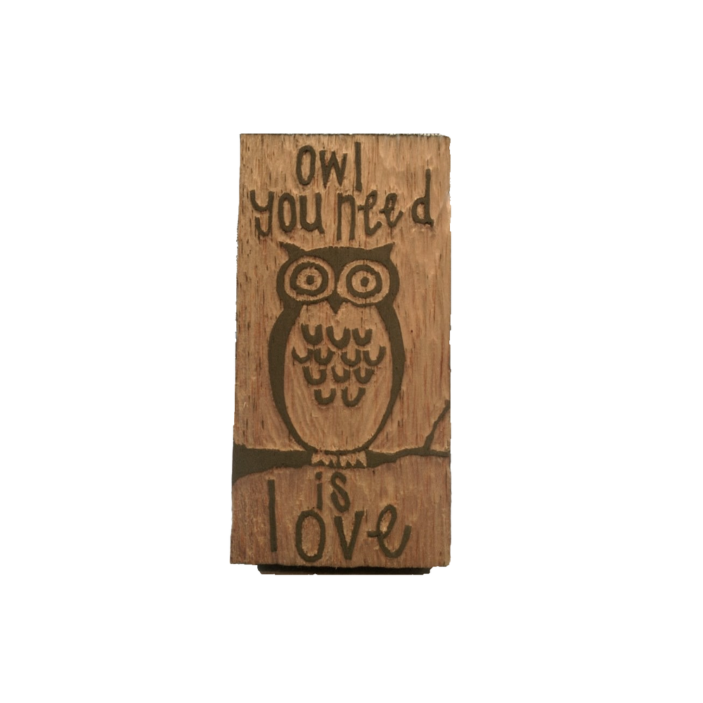 Owl You Need Is Love Woodcut | Blue Pine Sea