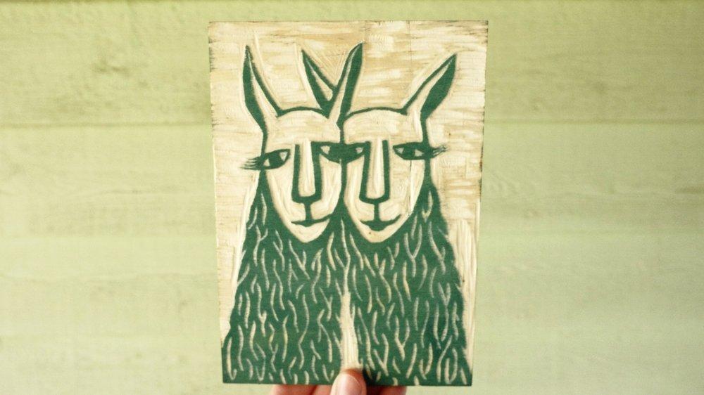 I Llove You | Llama Woodcut | Blue Pine Sea