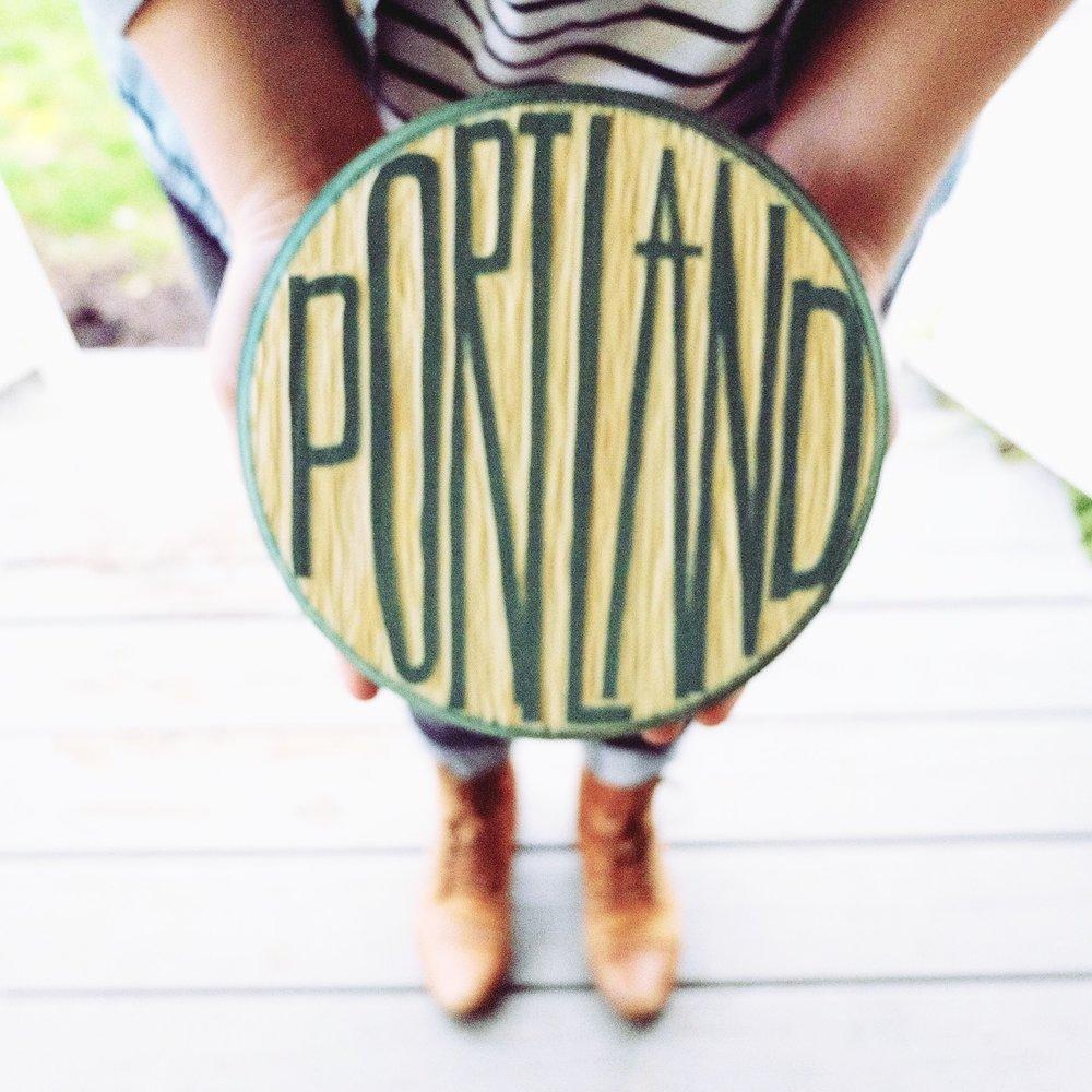 Portland Letter Woodcut | Blue Pine Sea