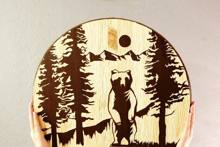 Lake Tahoe Bear Woodcut | Blue Pine Sea