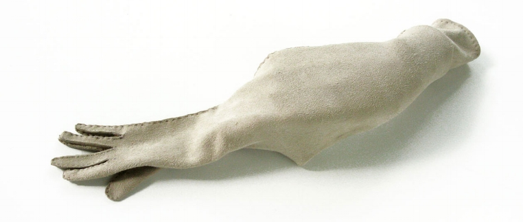 NOT CLEVER, BUT AMBITIOUS, 2013. Glove leather, thread, mannequin hand; 14 x 6 x 3 inches.