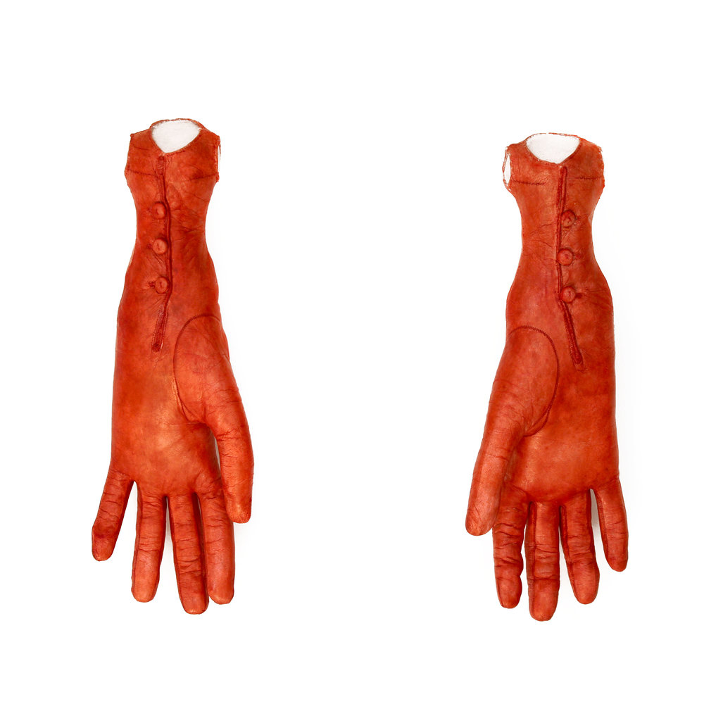 NEITHER AND BOTH,  2005-2007.   Gloves, glove leather, wire, sawdust, aniline dye; wall mounted; each approx. 11 x 5 x 3 inches
