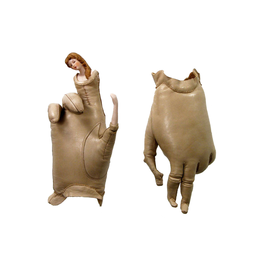 REAL AND PRETEND,  2006. Leather gloves, wire, sawdust, porcelain doll parts; wall mounted; each approx. 7 x 5 x 3 inches