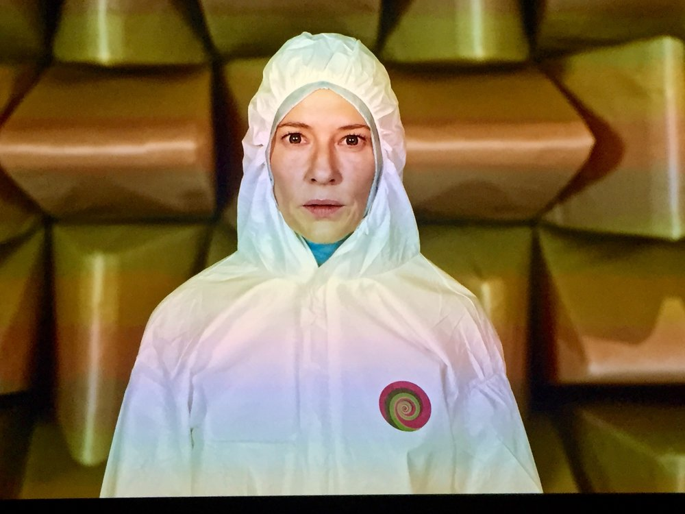 "Cate Blanchett as futuristic scientist in Julian Rosefeldt's ""Manifesto"""