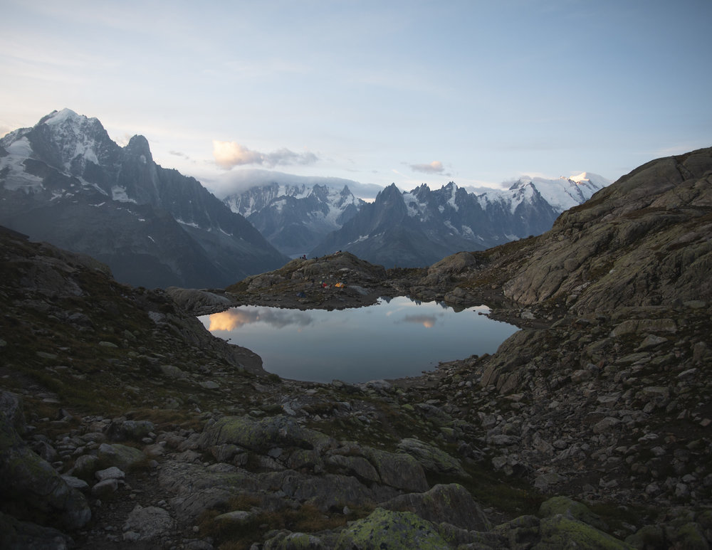 Shortly after sunrise above the Lac Blanc, Chamonix. Autumn 2018.