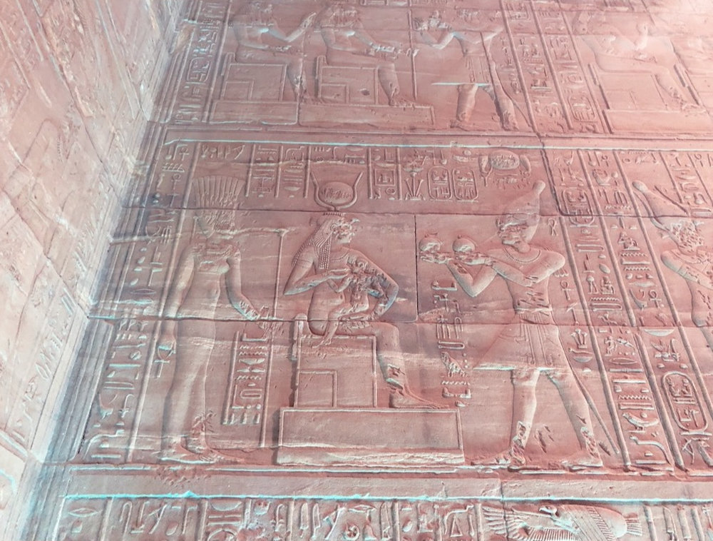 Temple of Philae, Aswan, Egypt. Ancient Hieroglyphic Depiction Honoring The Divine Mother.