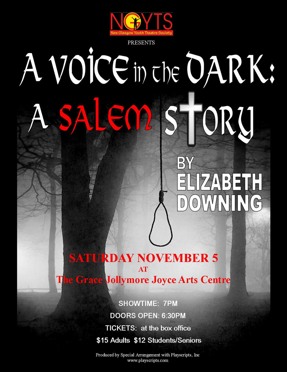 A Voice in the Dark A Salem Story New Glasgow Youth Theatre Society
