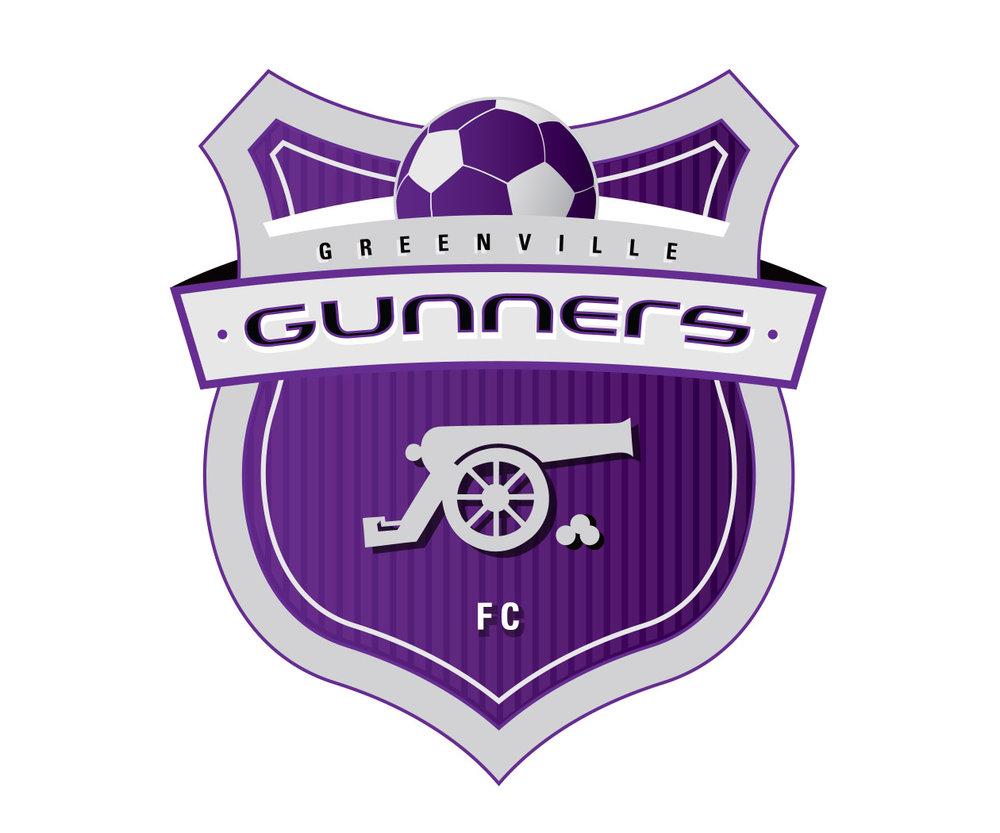 custom soccer logo design for the greenville gunners by jordan fretz design
