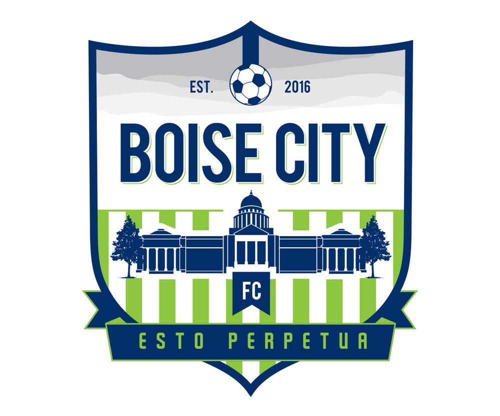 custom soccer logo design for boise city soccer by jordan fretz design