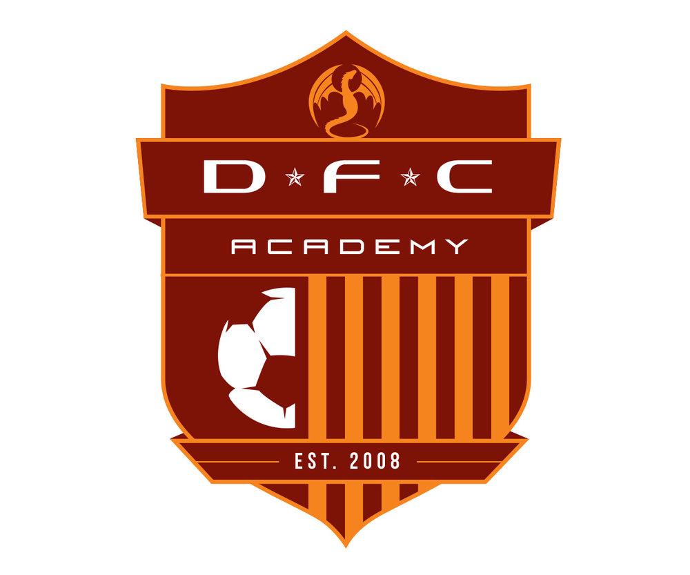 custom soccer logo design for dfc soccer academy by jordan fretz design