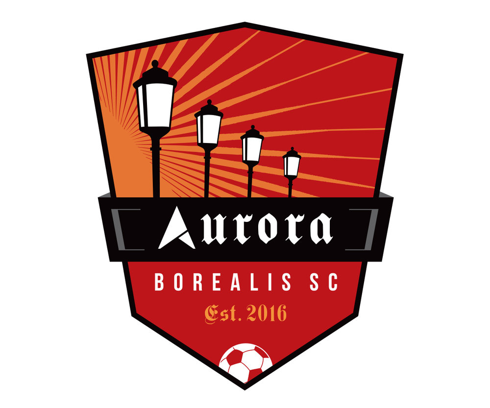 custom soccer logo design for the semi-pro team Aurora SC by jordan fretz design