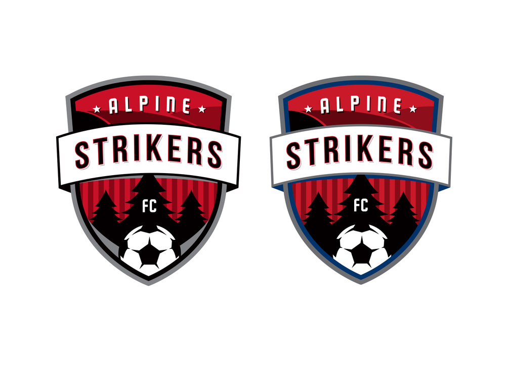 Alpine Strikers soccer badge design