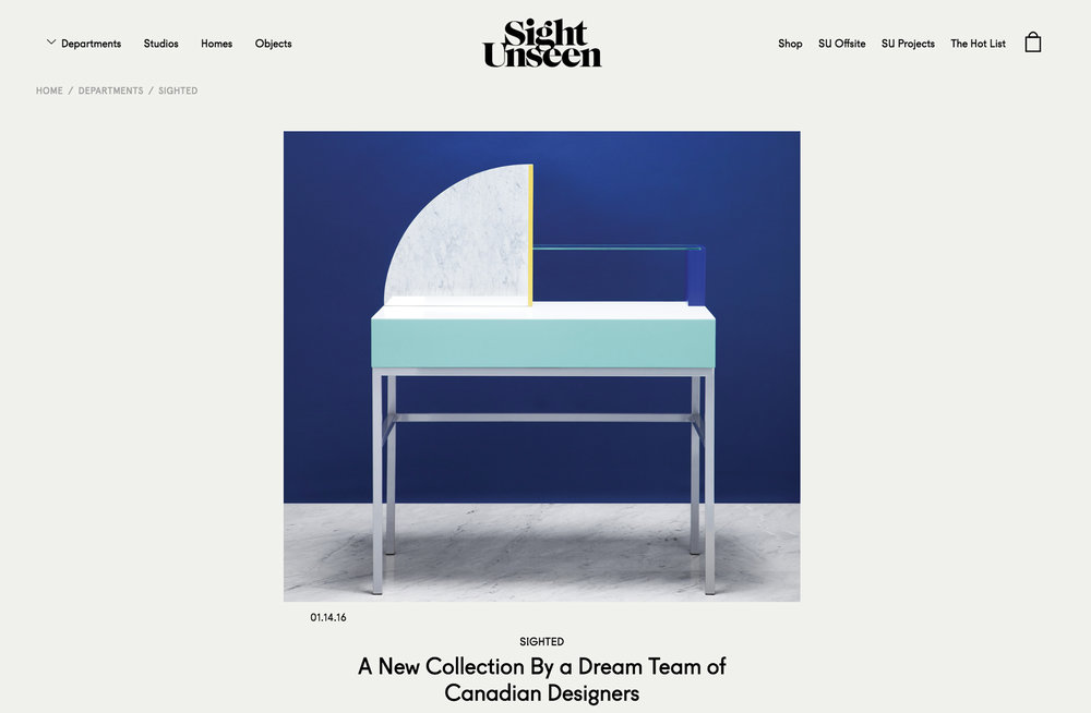 SIGHT UNSEEN, JANUARY 2016