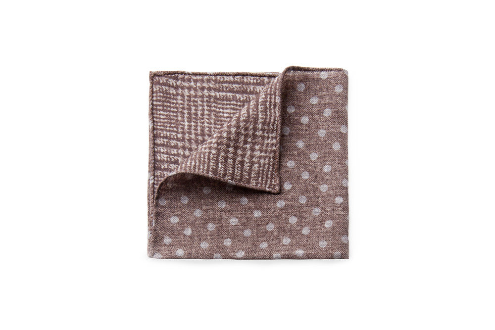 Brown Dot / Zebra Check - 100% Lightweight Wool - $55