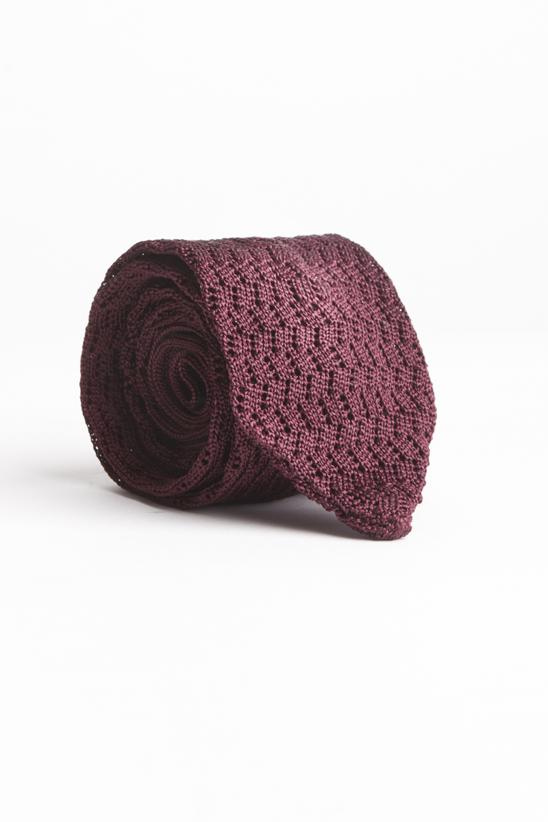 Garrison Essentials Classic Como Knit tie in Burgundy - $95