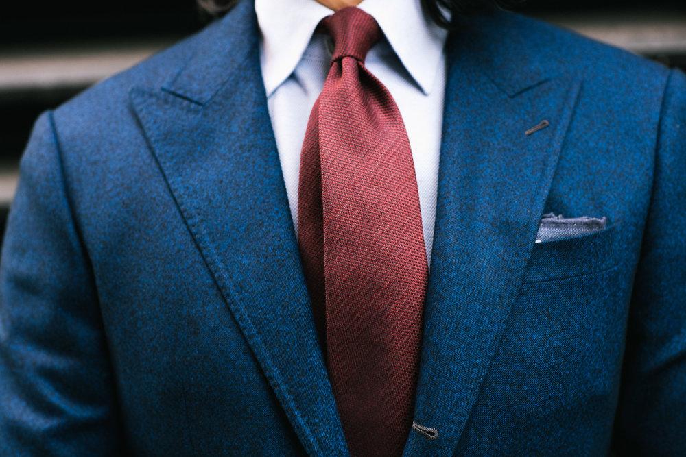 Garrison Essentials Slub Wool Silk Tie in Red - $55