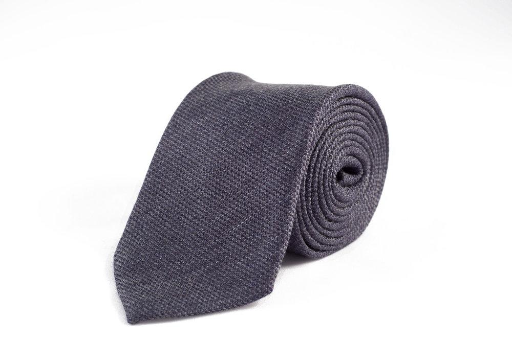 Garrison Essentials Slub Wool Silk Tie in Charcoal -$55