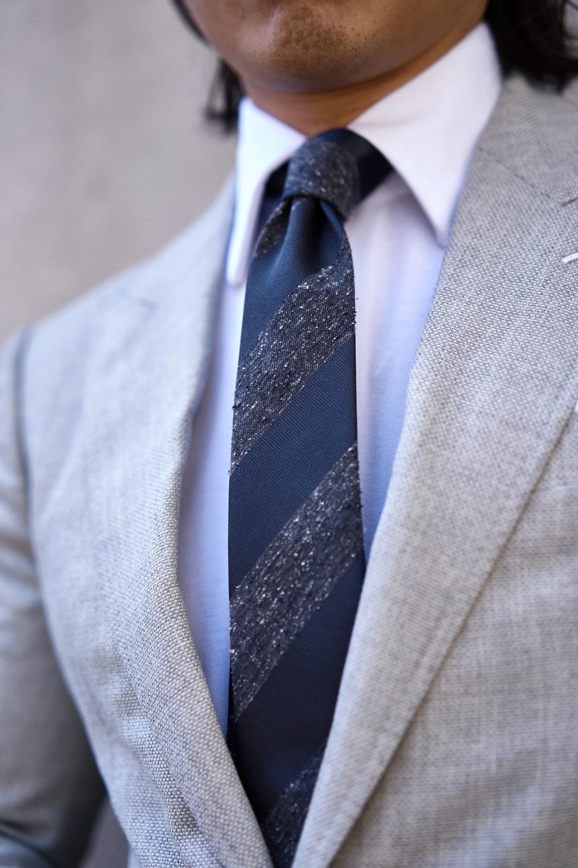 Garrison Essentials Repp Stripe Tie in Charcoal - $55