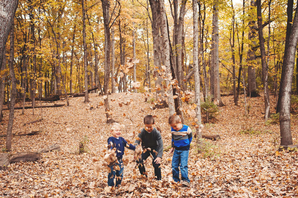 And when we're done, we got to throw some leaves. It's a rule.