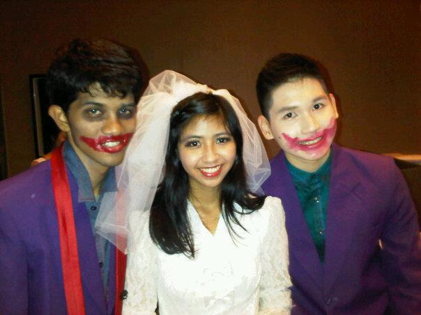 E-Motions dress rehearsals - GIGI Art of Dance studio, October 10th 2011.    Left to right: Aldhy as a joker, me as an angry bride, and Yaga as a joker.