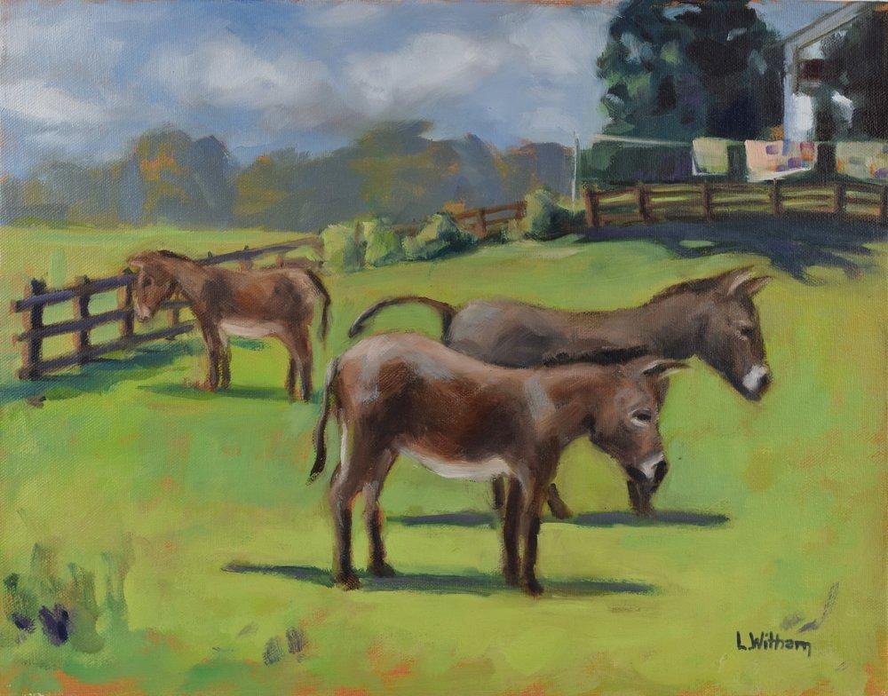 Three Donkeys (2016, plein air)