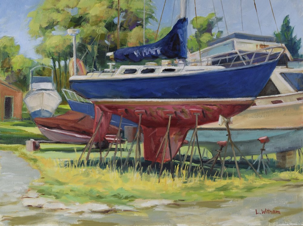 High and Dry in Solomons (2016, plein air)