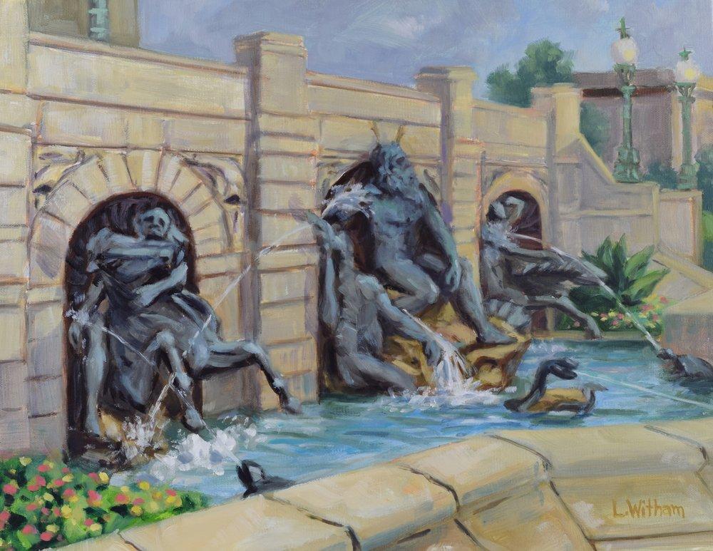 Neptune Fountain, Library of Congress (2016, plein air)