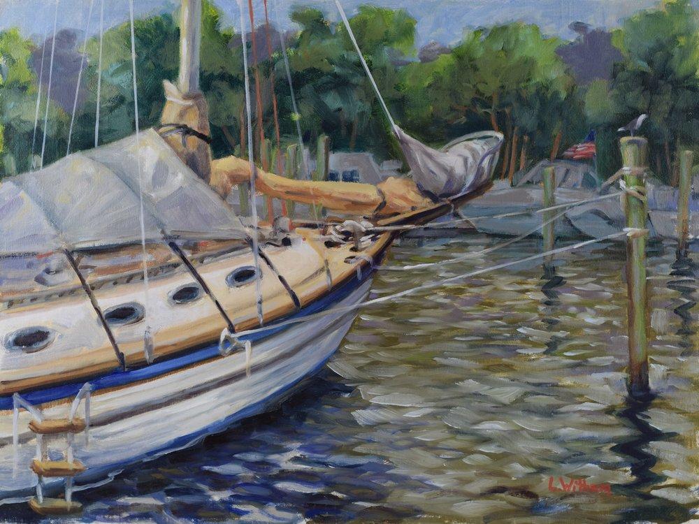 Yacht in Waiting (2016, plein air)