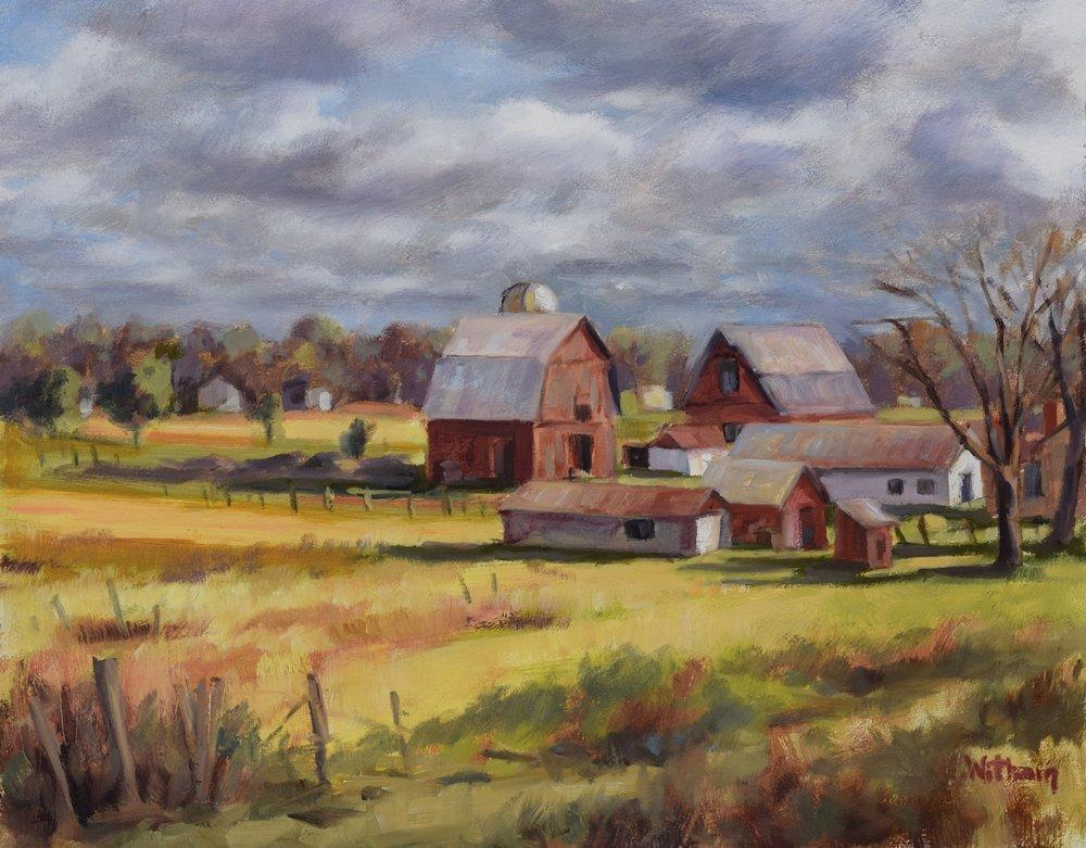 Wintry Farm Life (2017, plein air)