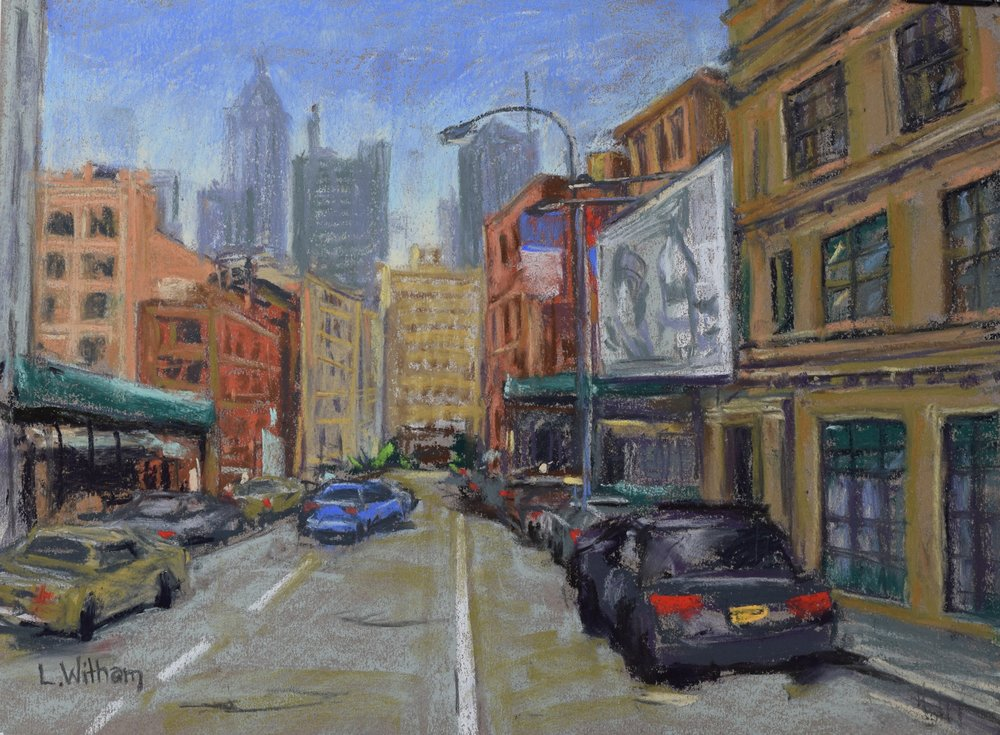 Backstreets, NYC (2017)  Pastel on toned paper, 12x16
