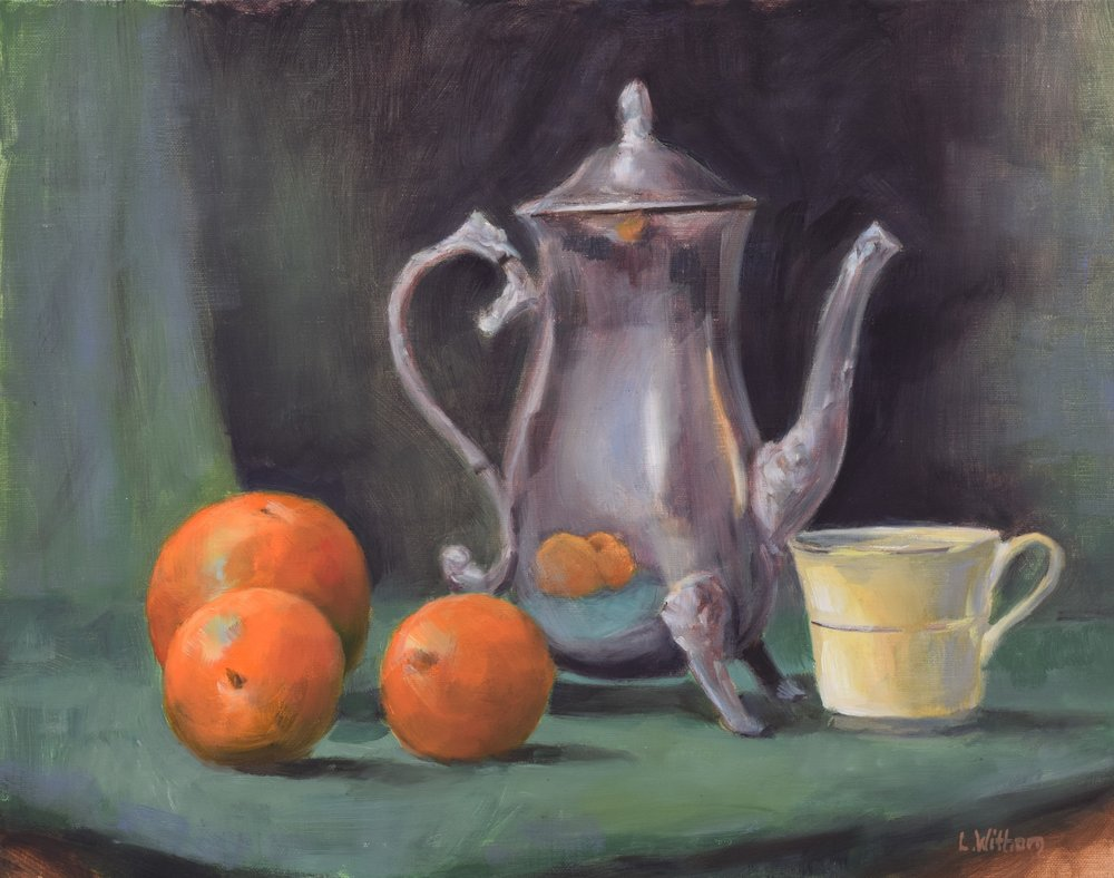 Tea and Oranges (2017)  Oil on linen, 11x14