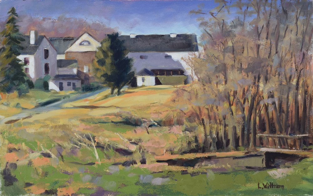 Brandywine Farm (2017, plein air)  Oil on hardboard, 10x16