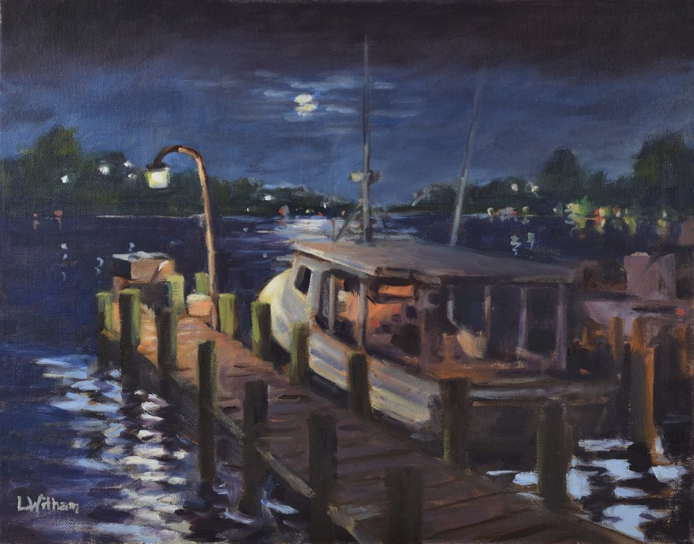 Night Docking (2016, plein air)  Oil on canvas, 11x14