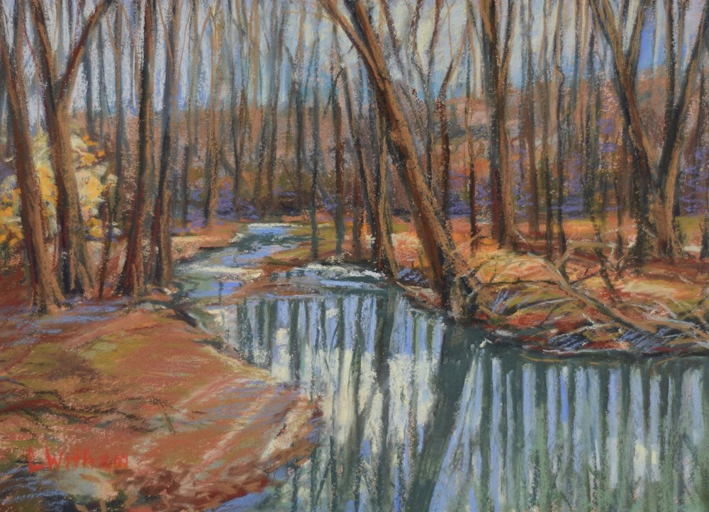 Winter Creek (2016)  Pastel on toned paper, 12x16