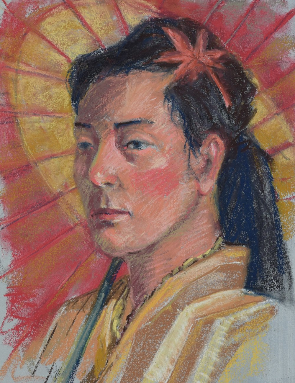 portrait (2016)  Pastel on toned paper, 12x16
