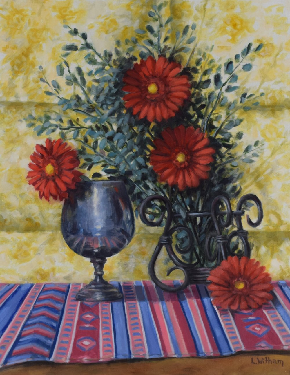 Scarlet Daisies (2018)  Oil on linen, 14x18