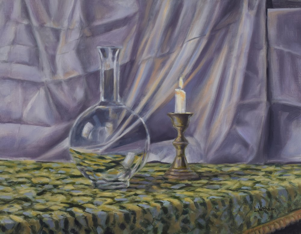 Glass in Candlelight (2018)  Oil on linen, 14x18