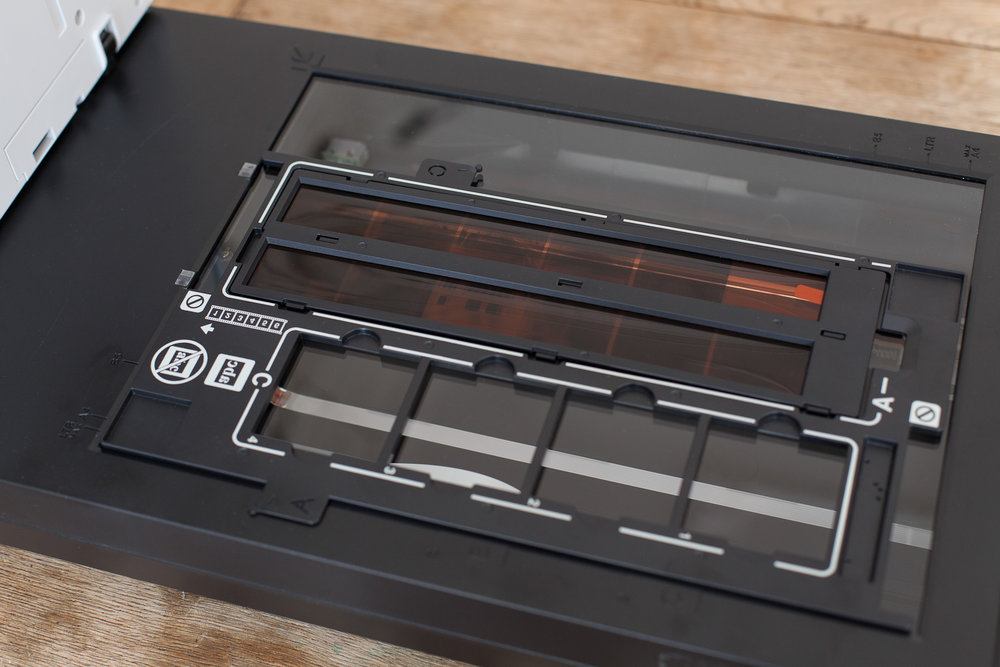 Negatives secured into scanner