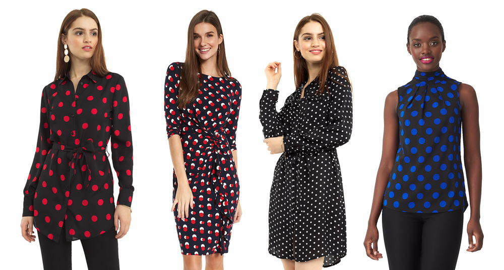 4 ladies wearing polka dot blouses and dresses