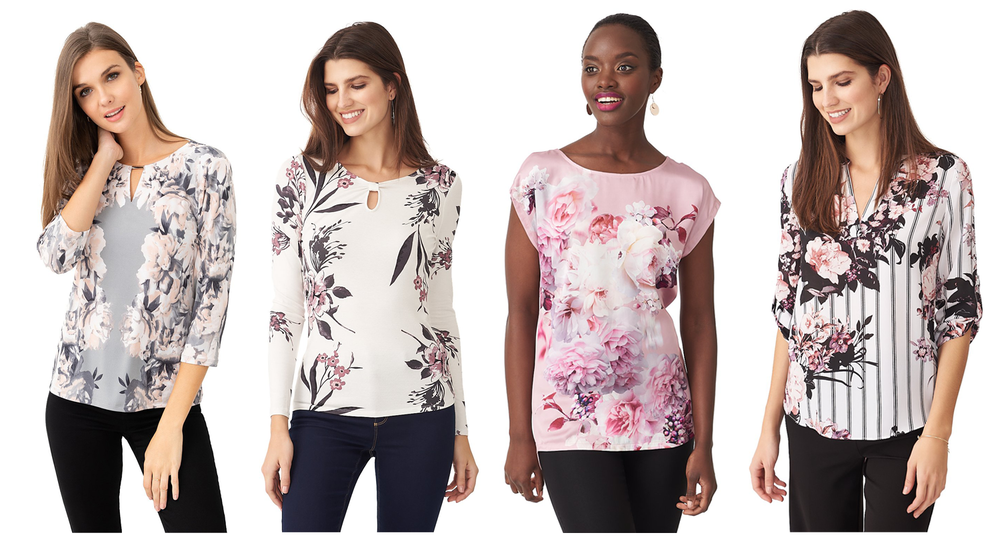 4 ladies wearing soft floral print blouses