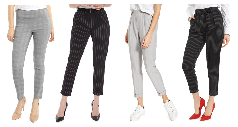 4 ladies wearing new and comfortable pant styles.
